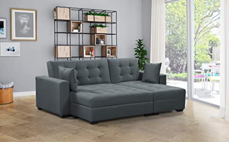Amazon.com: BroyerK 3 pc Reversible Sleeper Sectional Sofa ...