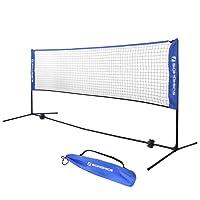 SONGMICS Filet de Tennis Badminton Pliable Facile à Monter Facile à Transporter Longueur 3m Hauteur réglable (107cm, 120cm, 155cm)
