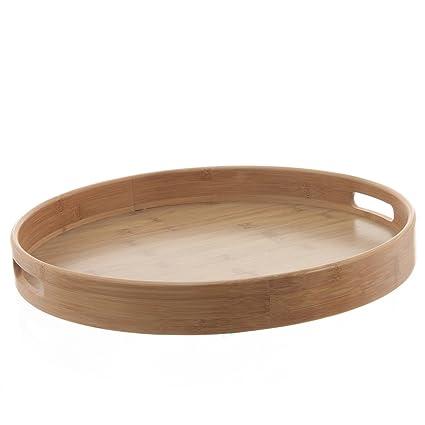 Bandeja redonda diámetro: 40 cm, diseño de bambú