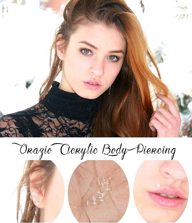 Hanpabum 40Pcs 16G Acrylic Clear Bioflex Tragus Retainer Lip Rings Nose Studs Labret Monroe Ear Helix Earring Clear Helix Cartilage Earring Body Piercing Jewelry Set