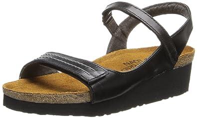 Naot Women's Madison Wedge Sandal,Black Madras Leather,36 EU/4.5-5