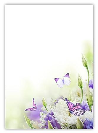 Motiv Briefpapier Blumenschmetterlinge 5022 Din A4 100 Blatt