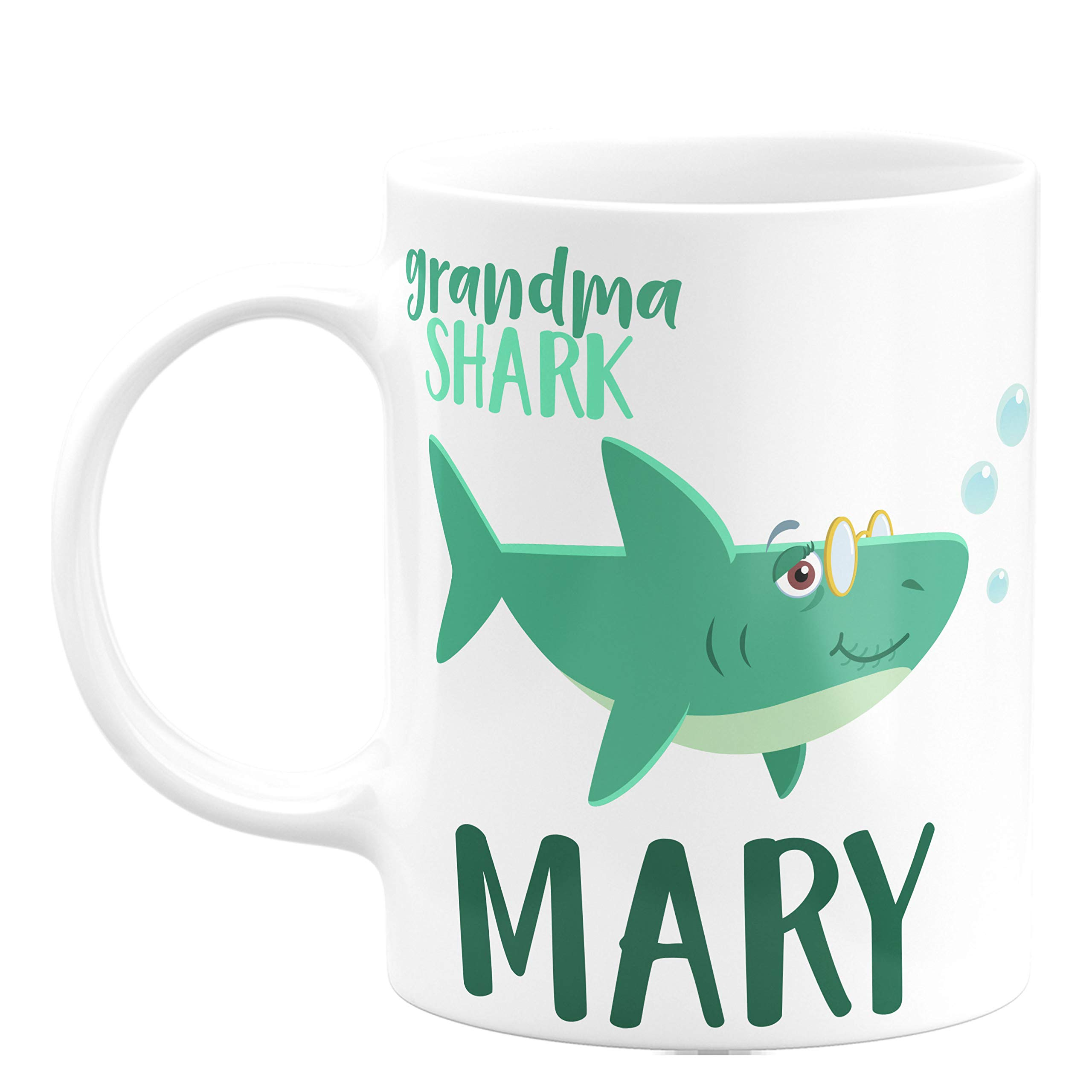 Personalized Gifts Shark Family Coffee Mug - 11oz & 15oz Ceramic Coffee Mug -Birthday Gifts, Christmas Gifts, Mother's Day Gifts - Baby, Boy, Girl, Mommy, Daddy, Grandma, Grandpa Sharks