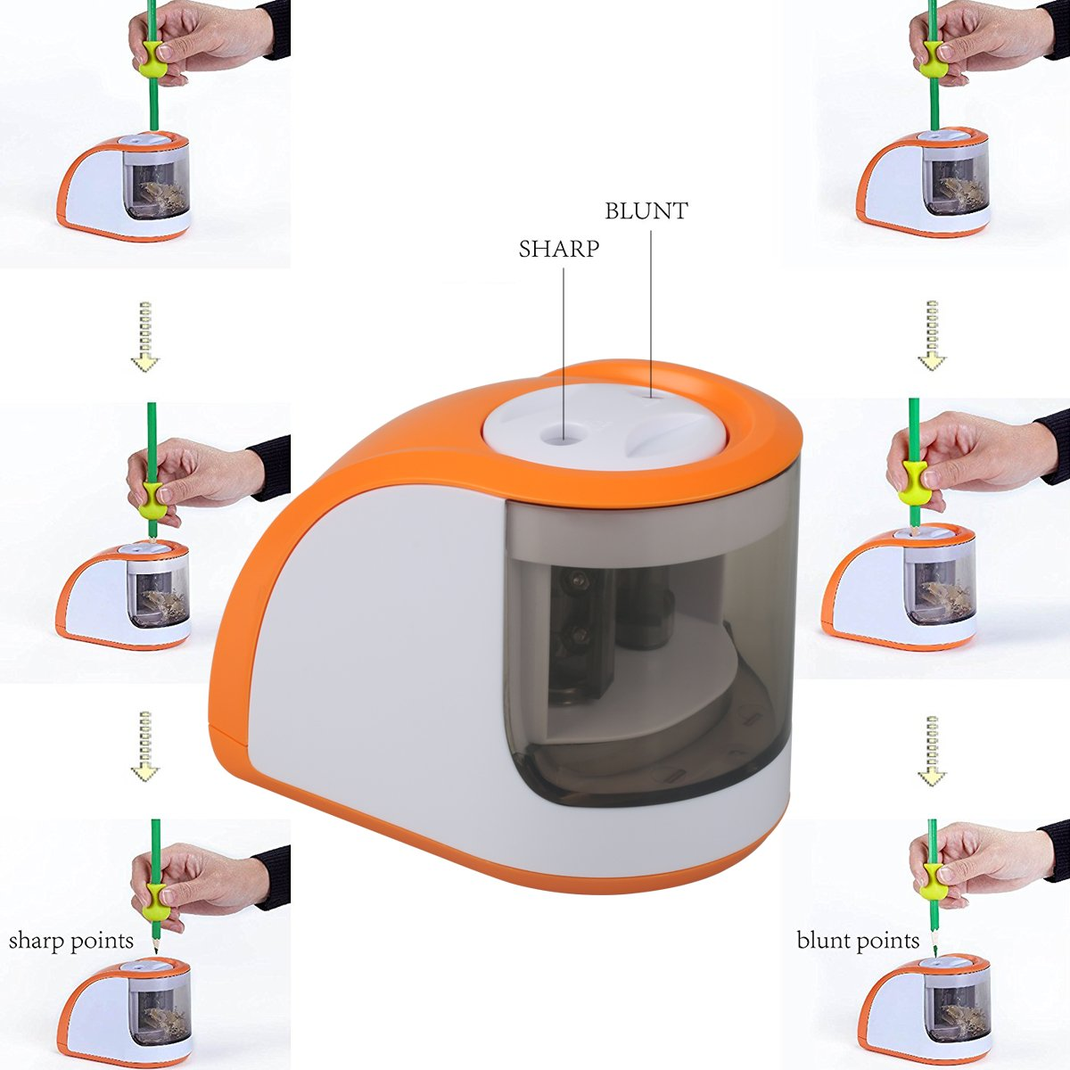 Electric Pencil Sharpeners with 2 Holes 6-8mm Both Power Cord and Battery Opreat for Colored Pencils