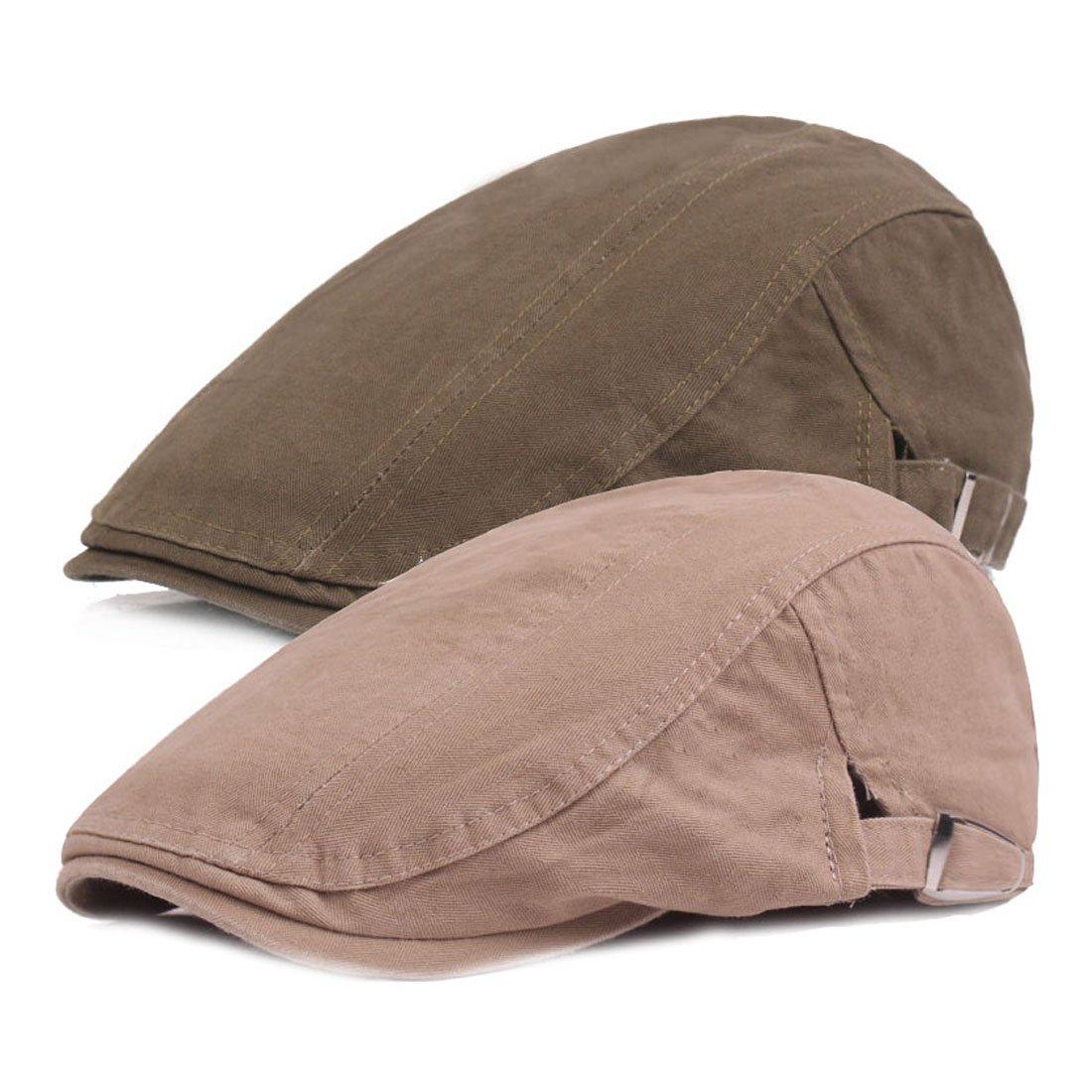 King Star 2 Pack Men Cotton Solid Ivy Irish Cabbie Newsboy Hat Scally Flat Caps Army Green Khaki