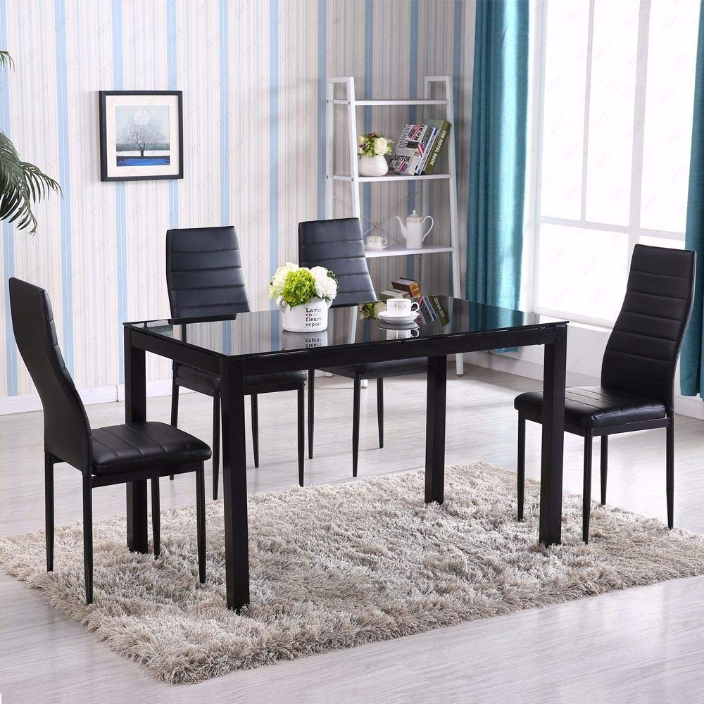 Adumly Set of 5 Piece Dining Table Set 4 Chair Glass Metal Kitchen Room Breakfast