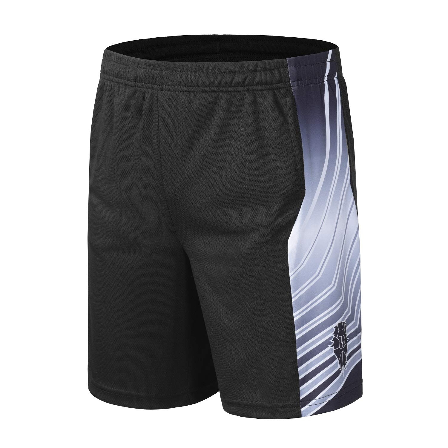 PIQIDIG Youth Boys' Loose Fit Athletic Shorts Quick Dry Active Shorts with Pocket, 2-Pack (Black-1, Small)