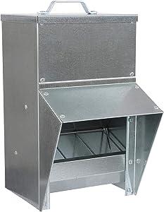 Rural365 Galvanized Chicken Feeder - Rat Proof Poultry Feeder with Lid Weatherproof Outdoor Coop Food Dispenser, 50lbs