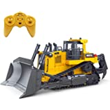 Fisca Remote Control Bulldozer RC 1/16 Full Functional Construction Vehicle, 2.4Ghz 9 Channel Dozer Front Loader Toy with Lig