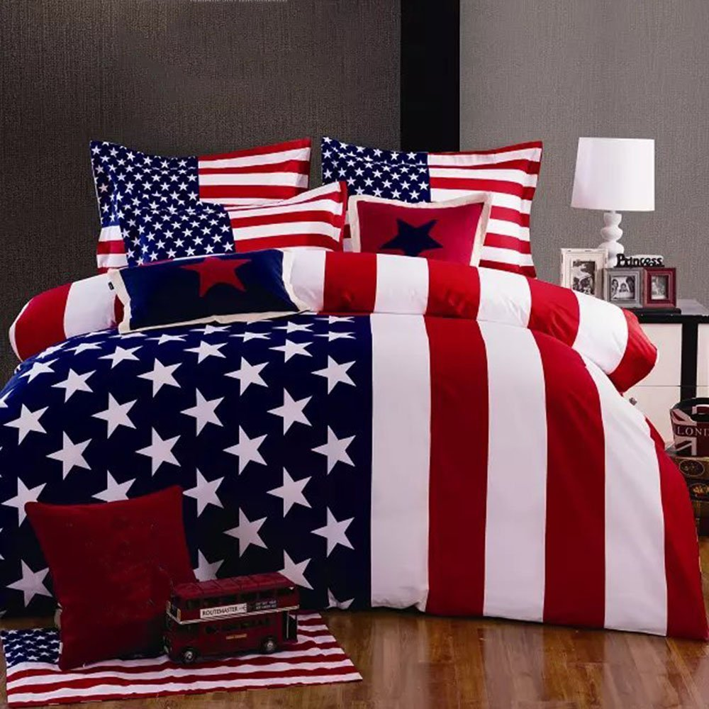 Joybuy American Flag Print Bedding Set Queen Size Duvet Cover Sheet Pillow Case 4pcs Bedding Set Queen Not Included