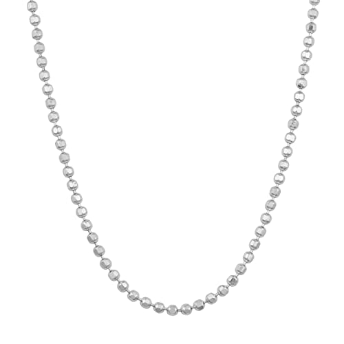 398821d21f031 Sterling Silver 1.5mm Diamond-Cut Ball Bead Chain (16, 18, 20, 22, 24, 30  or 36 inch)