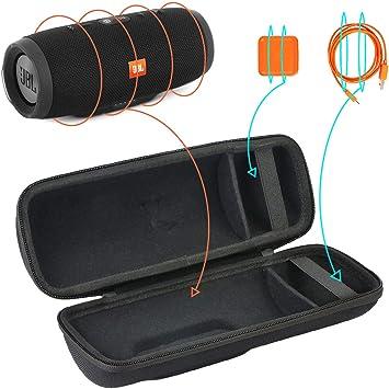 para JBL Charge 3 Altavoz inalámbrico portátil,Extra Room For Charger and USB Cable EVA Funda Estuche Bolso por Khanka (Negro): Amazon.es: Electrónica