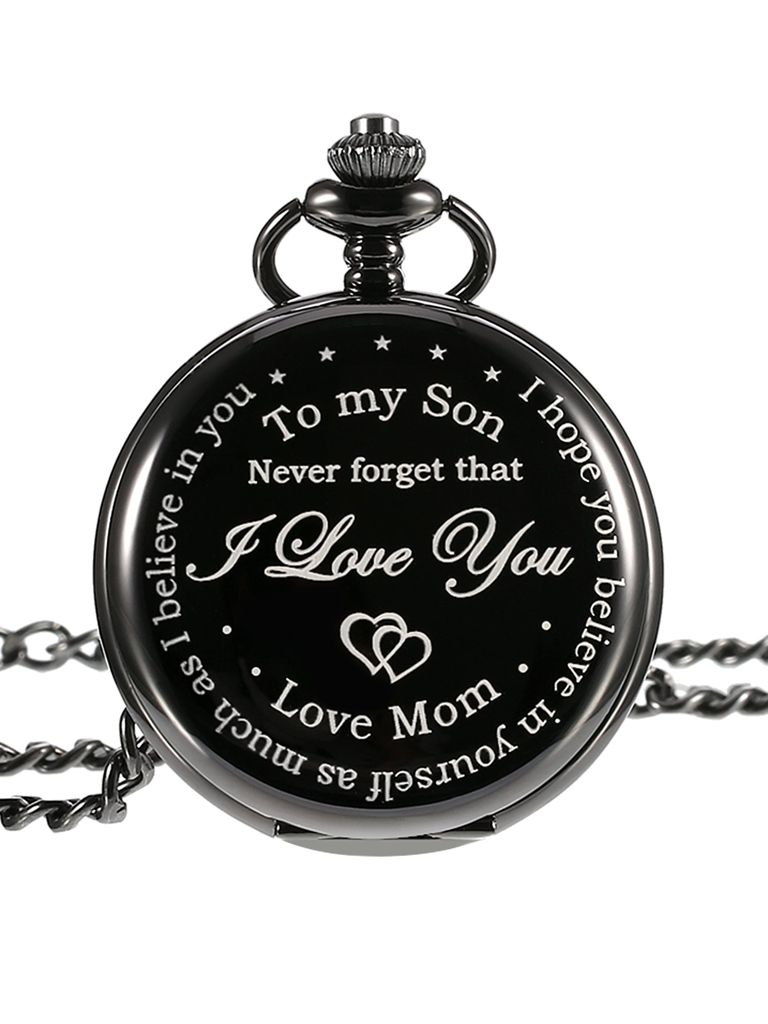 Hicarer Pocket Watch Gift for Son-Never Forget That, I Love you, Love Mom-from Mother to Son Pocket Watch with Chain, Black Dial
