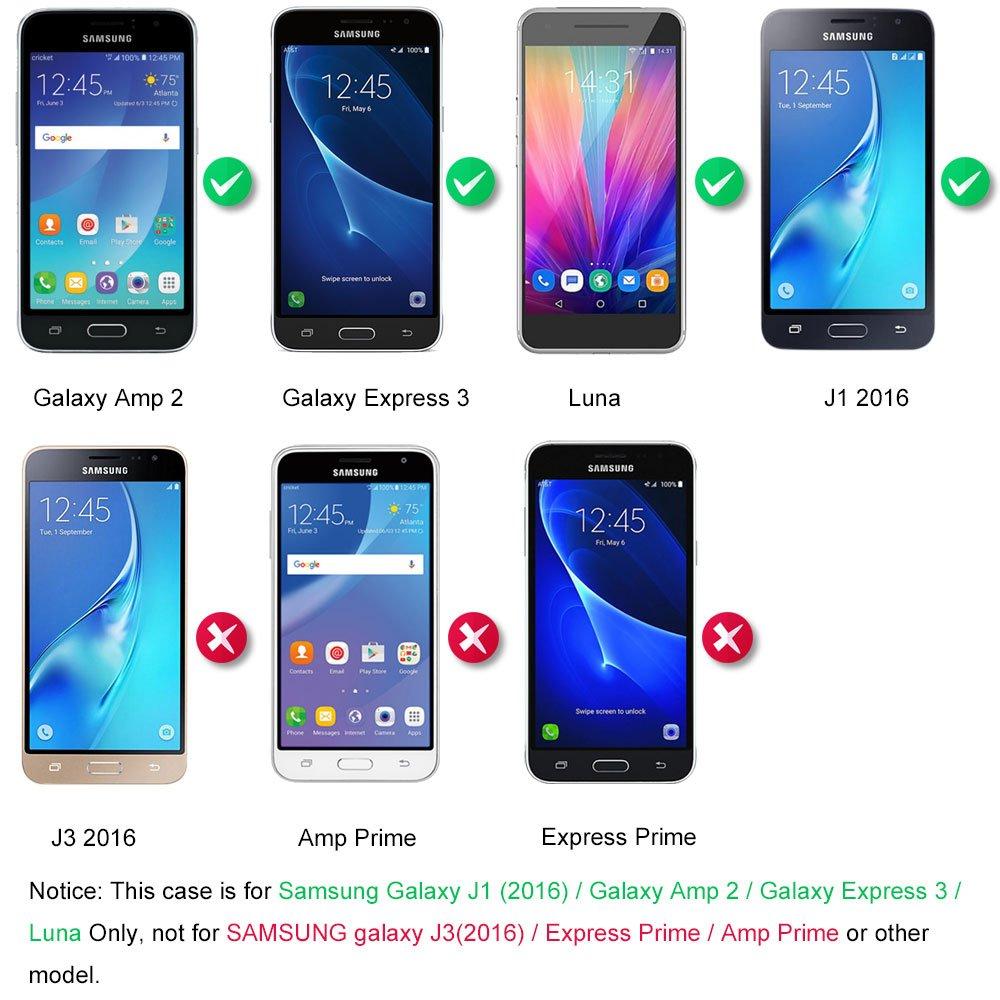 Galaxy J1 2016 Coque Supporter Flip PU Cuir Portefeuille Couverture Housse Coque Etui pour Samsung Galaxy J1 2016 avec Crédit Carte Tenant Fente et Main Dragonne Dooki A-2