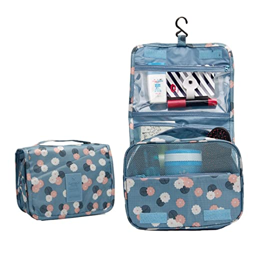 46d00140faf8 Amazon.com  Ac.y.c Hanging Toiletry Bag-Travel Organizer Cosmetic Make up  Bag case for Women Men Kit with Hanging Hook for vacation (Blue Flower)   Clothing