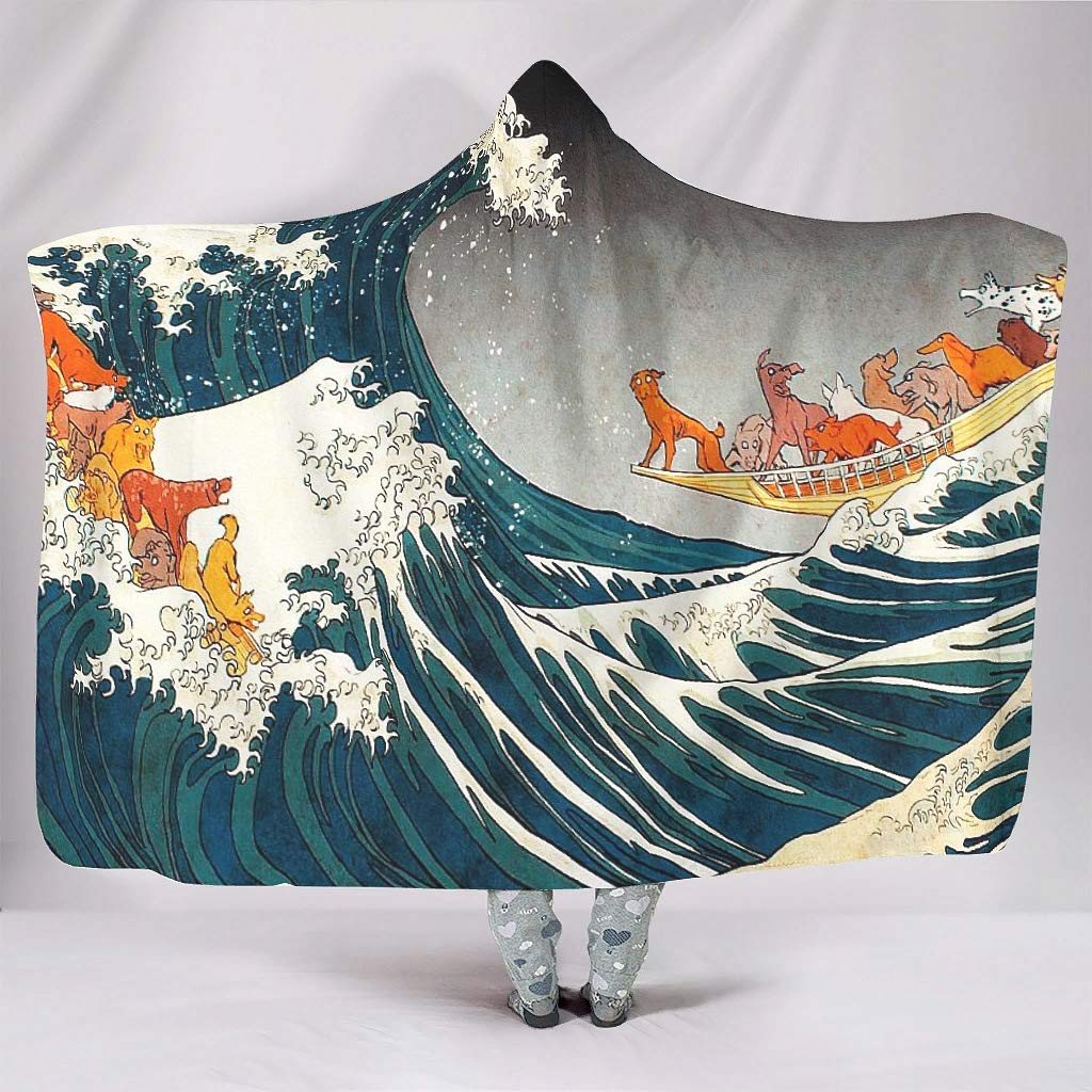 Watercolor Great Wave off Kanagawa Ukiyoe Great Wave Dogs on Boat Artwork Print Hooded Blankets Funny Super Soft Warm Winter Fleece Hood Cloak for Women Men Child Playing Games white 50x60 inch