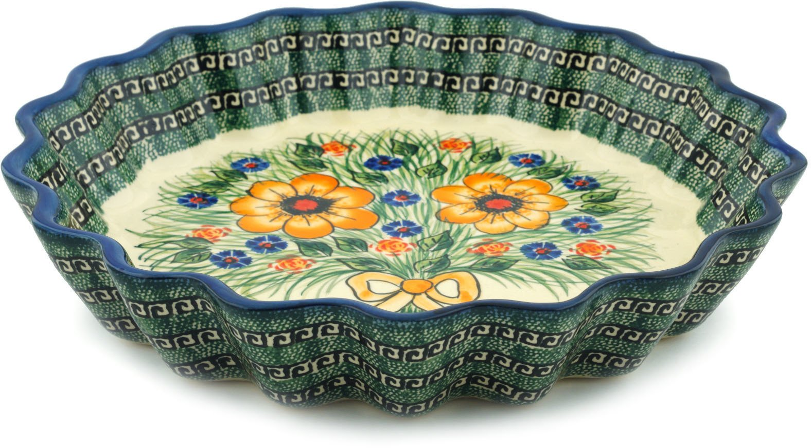 Polish Pottery Fluted Pie Dish 12-inch (Yellow Flower Theme) Signature UNIKAT