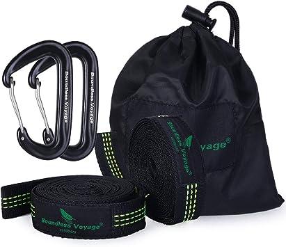 Boundless Voyage Hamaca de camping accesorios multifunción, correas colgantes para árboles, para niños, 200 kg, 10 anillos, 2 unidades