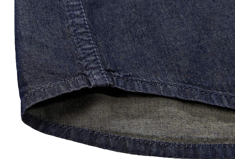 YONGM Men Fashion Jean Shirt Casual Short Sleeve Button Down Shirt Denim Dress Shirts