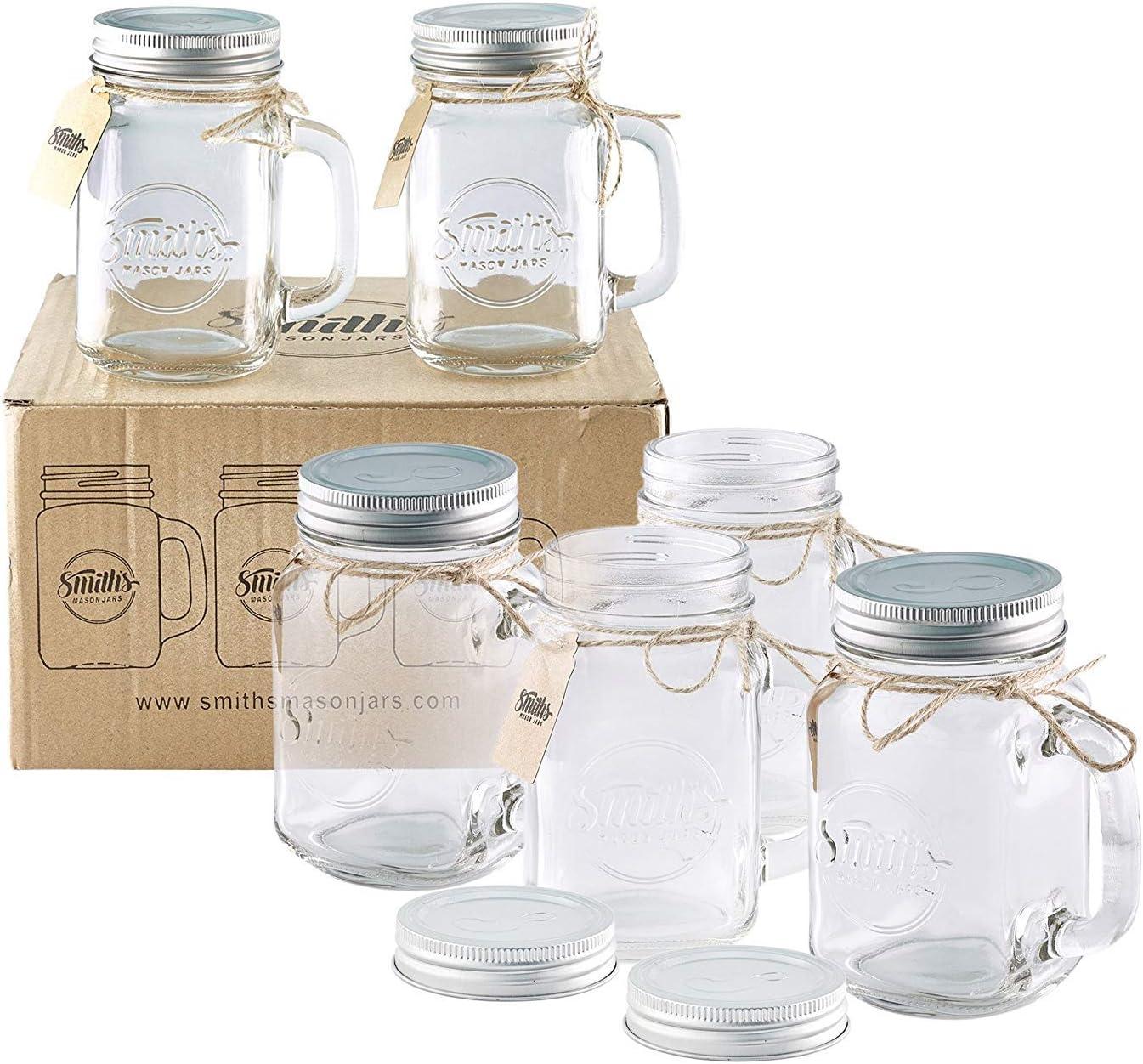 Smith Mason tarros de 6 x, Mason Jar tazas con tapa de rosca con junta de goma, making hermético y filtraciones de agua, también ideal para hacer de la noche la avena:
