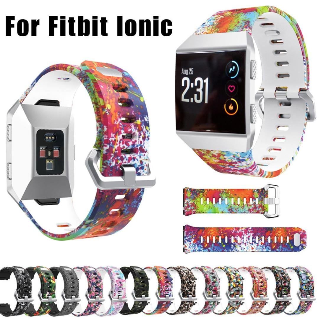 Greatgiftlist for Fitbit Ionic Sports Silicone Watch Bands for Women Men Wristbands,Leopard Flower Floral Camouflage Butterfly Bohemia 3D Geometry Printed for Fitbit Ionic Replacement Accessories