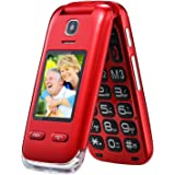 Obooy EG520 Unlocked GSM Clamshell Mobile Phone, SOS Button,Dual Screen with Large Keypad and Big Font, Radio/Camera/Torch/Charging Dock, Hearing Aid Compatible, Senior Citizen-Friendly, Red