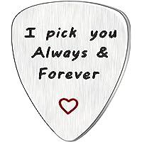 Men Women Guitar Pick I Pick You Always&Forever Music Gift Valentine Anniversary Wedding Stainless Steel