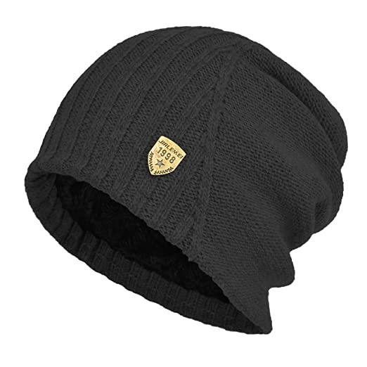 01c44b86406 Janey Rubbins Winter Oversized Slouchy Style Beanie Fleece Lined Stocking Skull  Cap Knit Ski Hat (Black