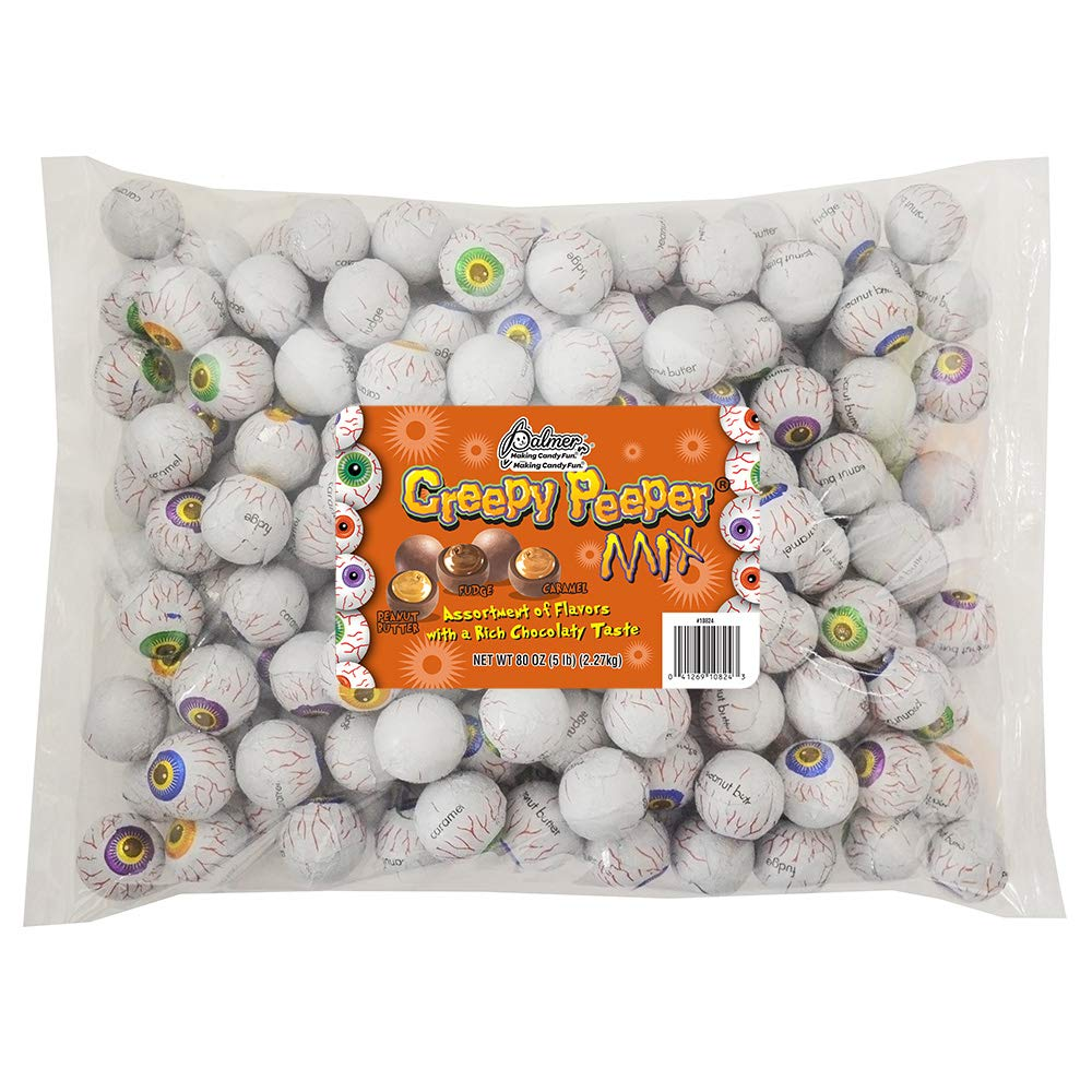 R.M. Palmer Creepy Peeper Mix - (Approx. 185 Pieces) Bulk Bag, Fun Sized Halloween Eyeballs Themed Treats, Candy, and Snacks (5 LB) by PALMER