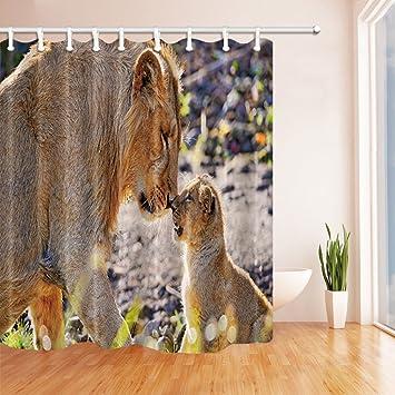 GoHEBE Wildtiere Duschvorhang für Badezimmer, Safari Löwe Mutter und ...