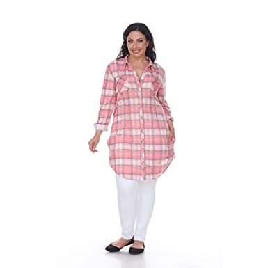f288beb194e Image Unavailable. Image not available for. Color  White Mark Women s Plus  Size Piper Plaid Tunic Rose 1X