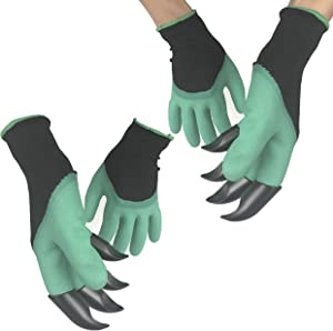 2 Pairs Garden Genie Gloves with Claws, Waterproof and Breathable Gloves For Digging, Planting,Weeding, Seeding and Rose Pruning, Best Gardening Tool-Best Gardening Gifts for Women and Men