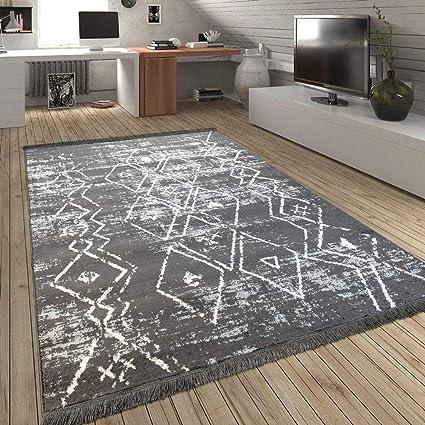Paco Home Tapis Franges Scandinave Salon Losanges Motif Carreaux Gris  Crème, Dimension:160x230 cm