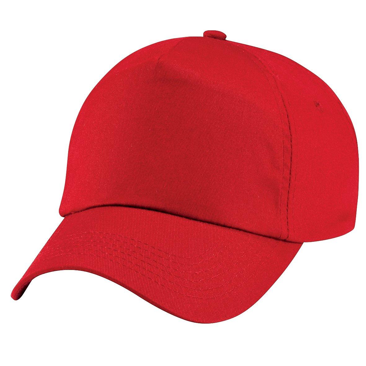 Rosso Bambino Beechfield Cappellino Tinta Unita 100/% Cotone Taglia unica