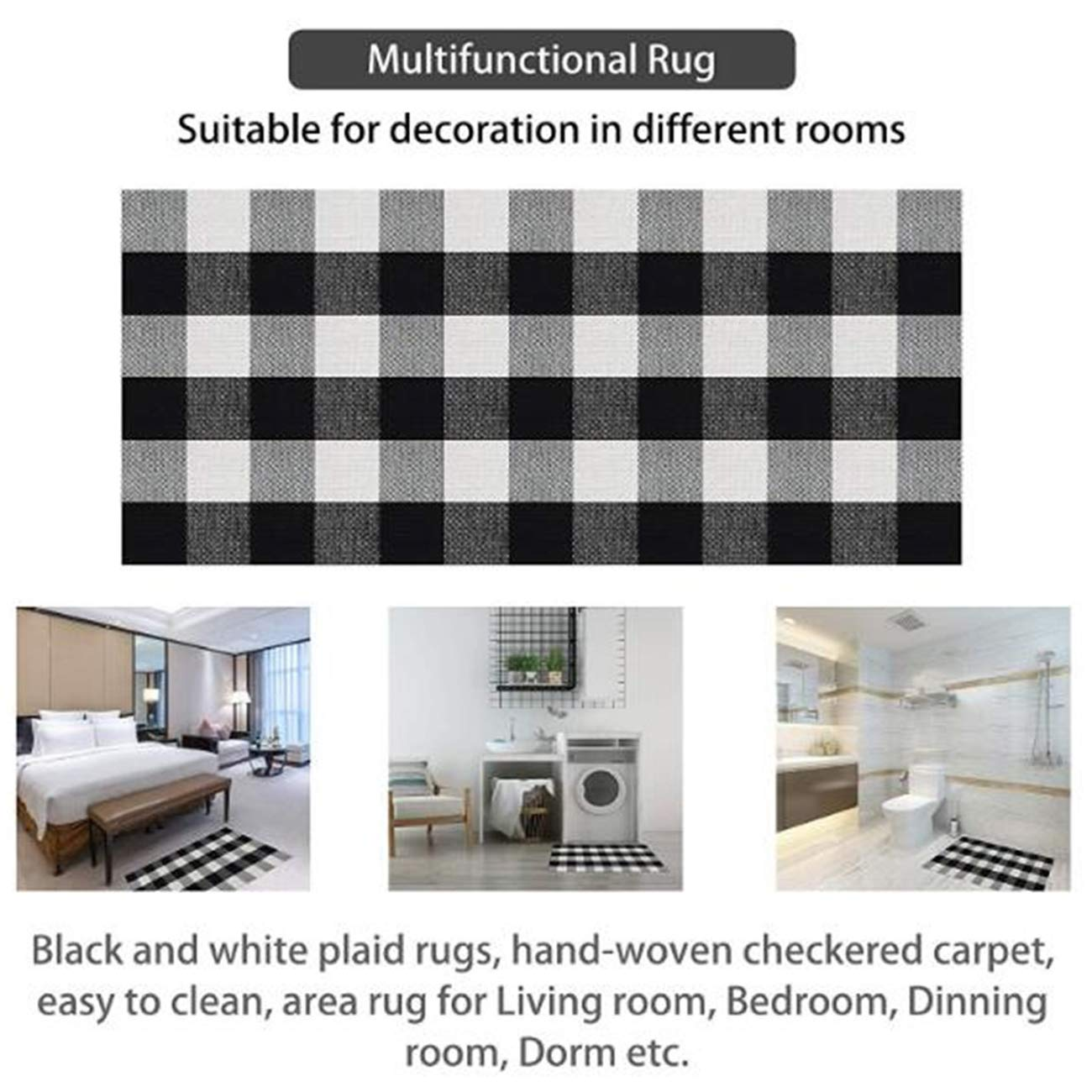 Buffalo Plaid Rug Indoor Outdoor Buffalo Check Rug, Farmhouse Rugs for Doorway Kitchen/Bathroom/Front Porch/Decor - Layered Welcome Plaid Rug Doormats (24\