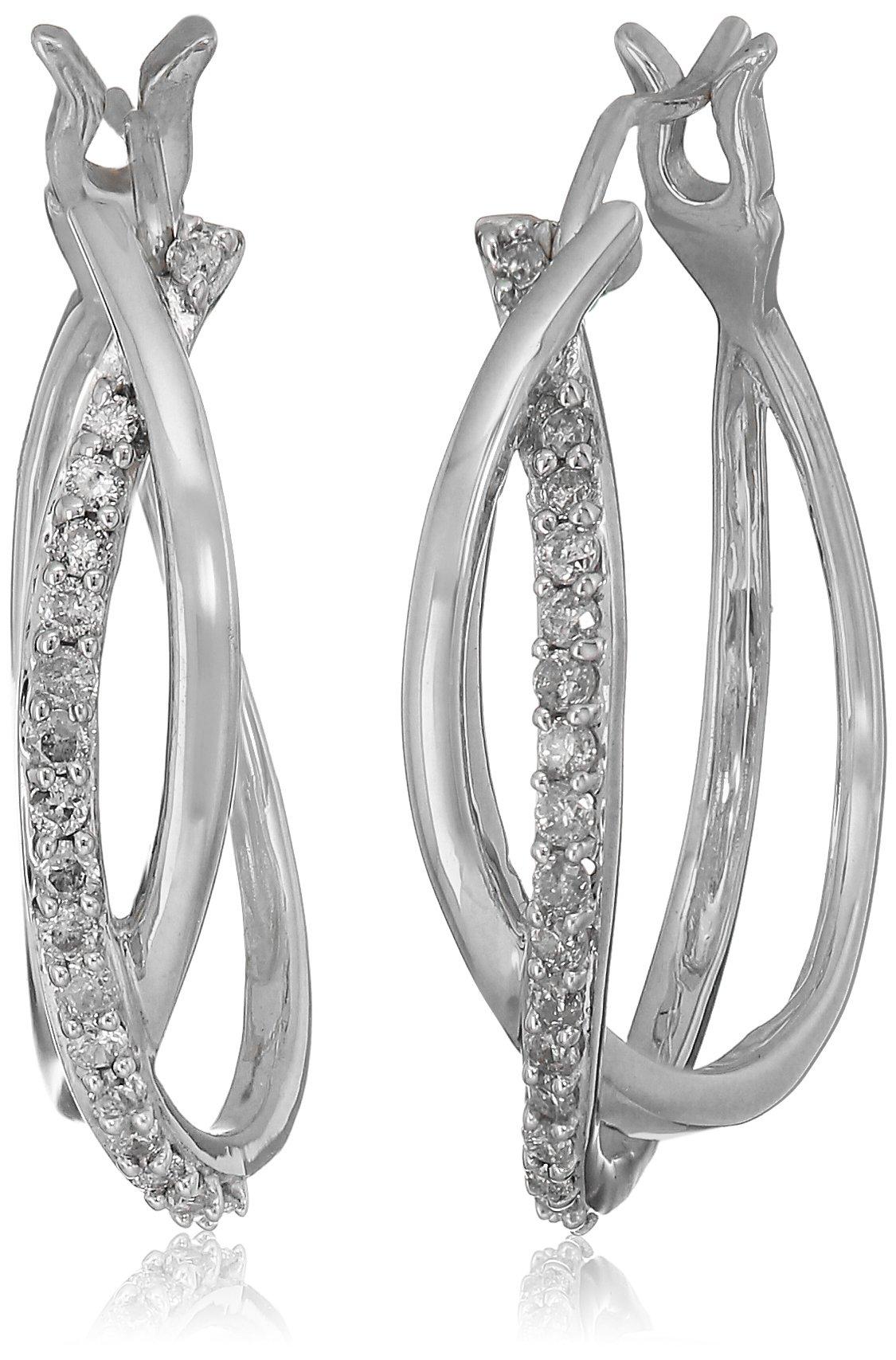 10k White Gold Diamond Hoop Earrings (1/4 cttw)