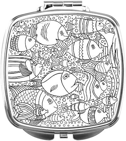 wyd-a espejo de maquillaje para colorear libro maquillaje soporte con lupa de meditación espejo maquillaje espejo Boho: Amazon.es: Hogar
