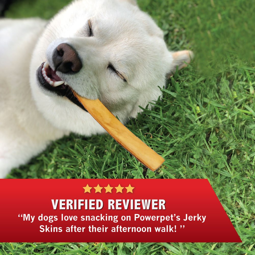 Powerpet: Smoked Beef Jerky Skins - Natural Dog Chew - 8 OZ Pack - Helps Improve Dental Hygiene - 100% Natural & Highly Digestible - Protein with Low Fat - Beef Jerky Dog Treat - Beef Skin and Meat by Powerpet (Image #5)