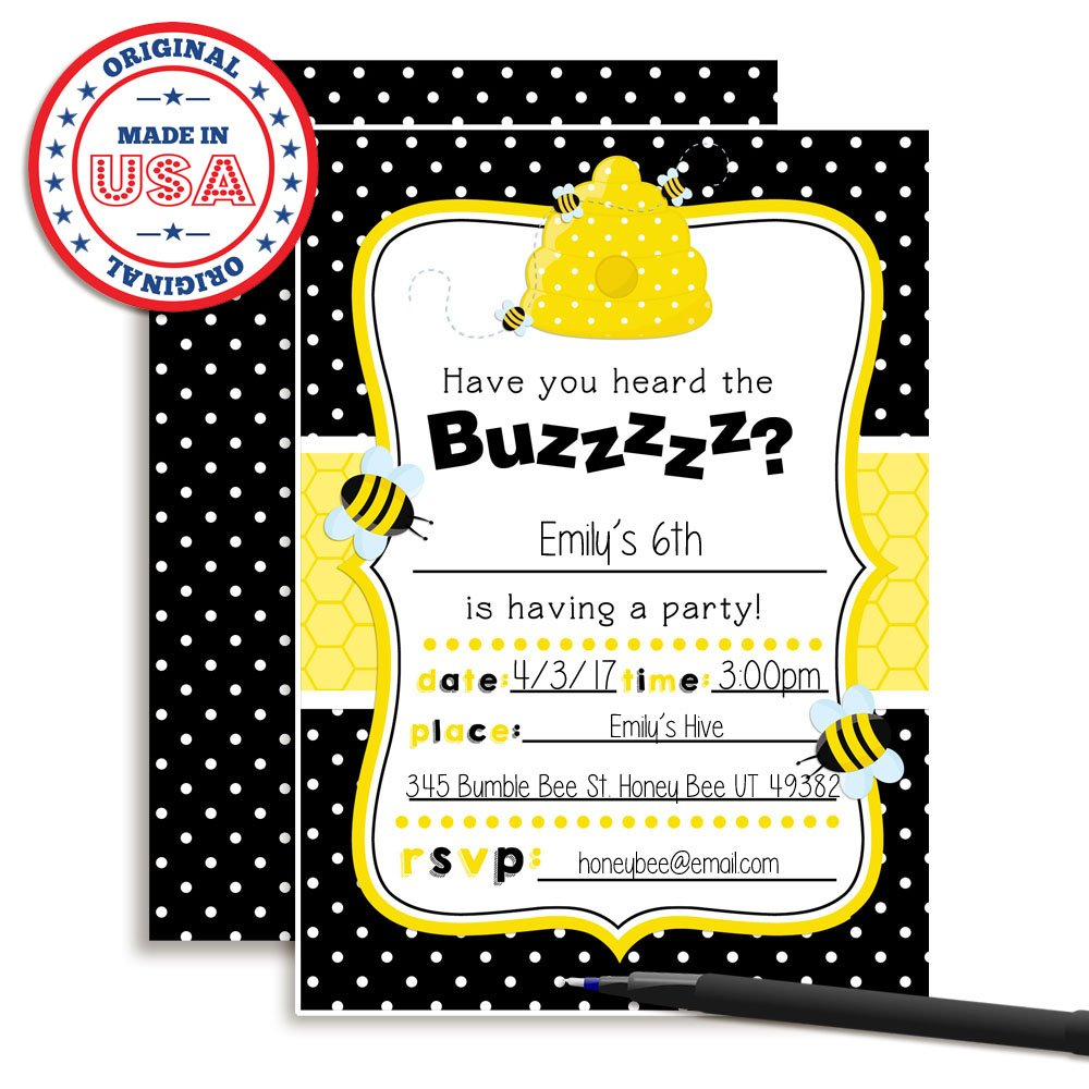 Amazon.com: Bumble Bee Birthday Party Invitations, Ten 5\