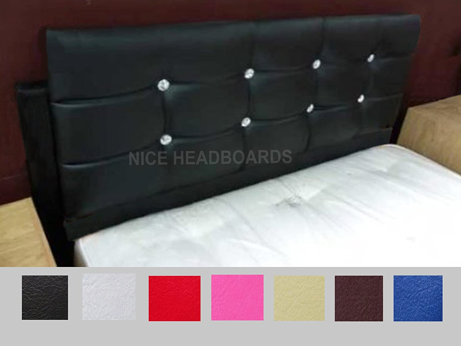 Diamonte Faux Leather Diamond Diamante Headboard Struts Available in Colours (Black Faux Leather, 2FT6 Small Single) Nice Headbaords