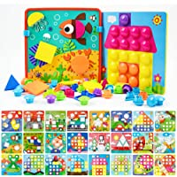 JoyGrow Button Art Toys Color and Geometry Shape 2 in 1 Matching Mosaic Pegboard Early Learning Educational Toy for Boys…