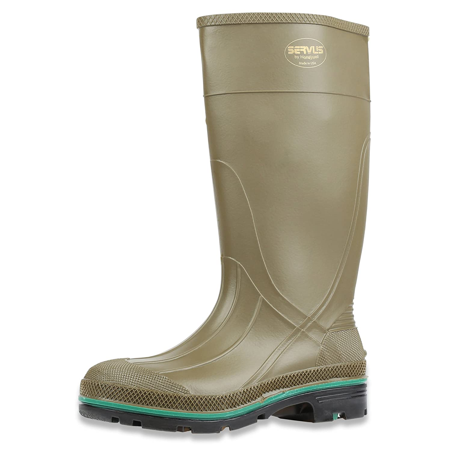 """Servus MAX 15"""" PVC Chemical-Resistant Soft Toe Men's Work Boots, Olive, Green & Brown (75120), Size 8"""