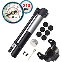 WOVTE Mini Bike Pump w/ Pressure Gauge (Black)