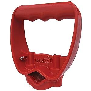 Back-Saving Tool Handle, Labor-Saving Ergonomic Shovel or Rake Handle Attachment, RED