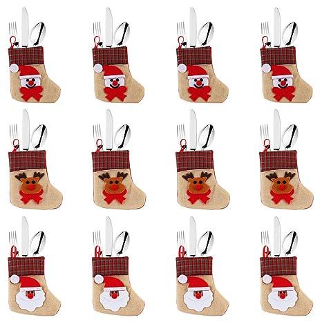 OurWarm bolsa para vajilla de Navidad juego de cubiertos cubiertos titulares bolsillos cuchillos tenedores bolsa de