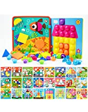JoyGrow Button Art Toys Color Matching Mosaic Pegboard for Kids,2-in-1 Color Geometry Shape Cognition Skill Early Learning Educational Toys for Boys and Girls 72 PCS Buttons and 24 templates