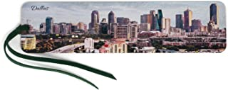 product image for Dallas, Texas Skyline - Color Wooden Bookmark with Suede Tassel
