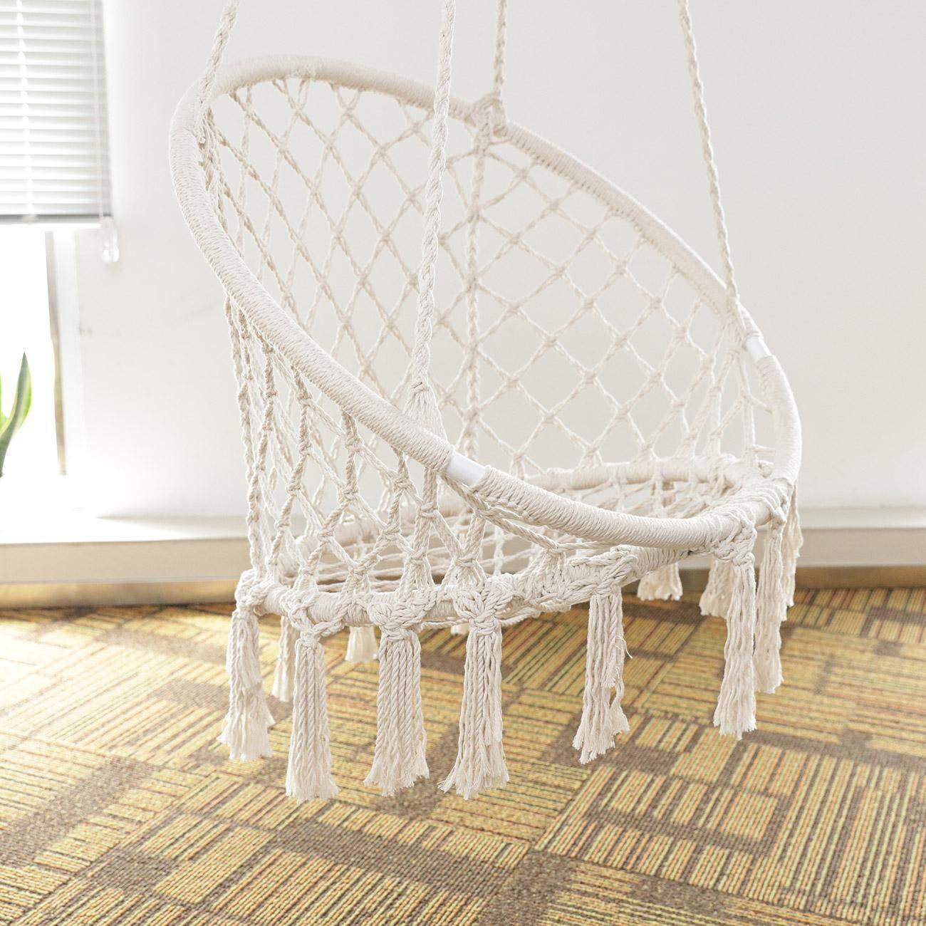 BEAMNOVA 265 lbs Capacity Hammock Chair with Hanging Hardware for Indoor Outdoor Beige by BEAMNOVA (Image #3)