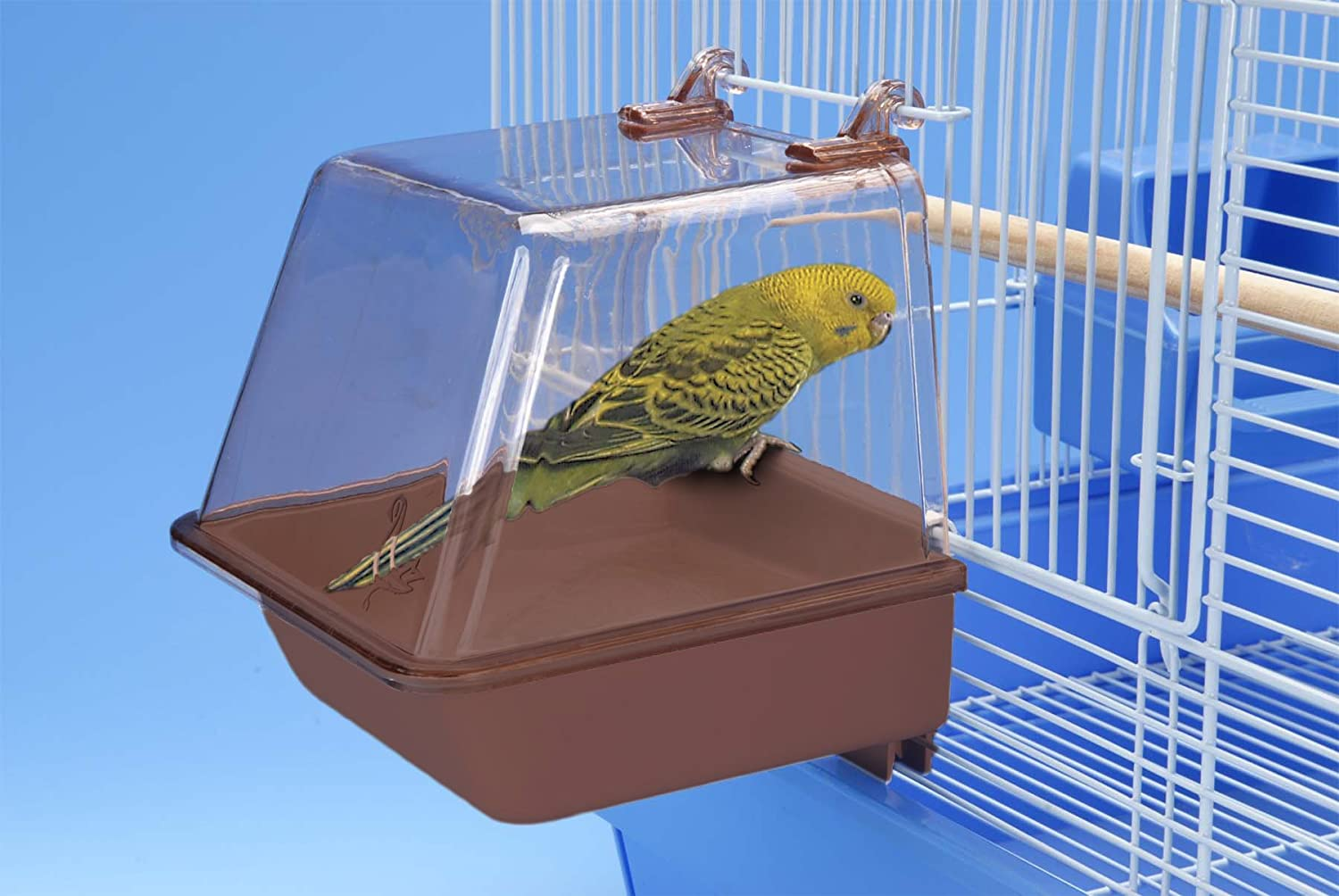 Penn Plax Clip-On Bird Bath – Comes With Universal Clips to Attach to Most Birdcages, 5.5 x 5.75 x 3.75 Inches : Bird Cage Supplies : Pet Supplies