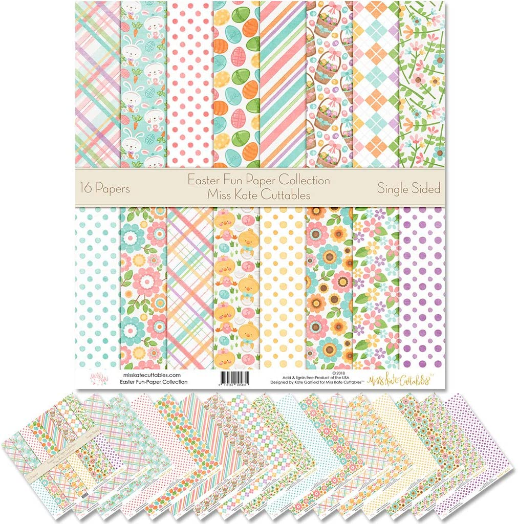 by Miss Kate Cuttables Scrapbook Premium Specialty Paper Single-Sided 12x12 Collection Includes 16 Sheets Pattern Paper Pack Valentine Day Basics